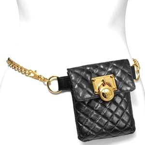 MICHAEL KORS QUILTED FANNY PACK/GOLD CHAIN…